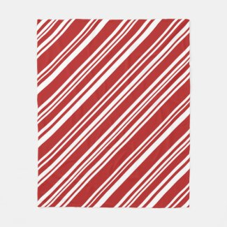 Cozy Red and White Modern Peppermint Stripes Fleece Blanket