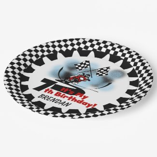 Motorcycle Racing 7th Birthday Paper Plates