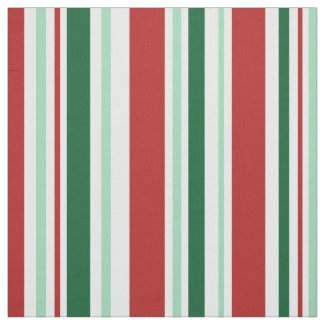 Mixed Red, Green, White Stripes Fabric