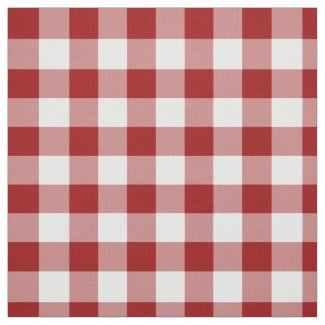 Homey Red and White Gingham Plaid Fabric