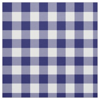 Classic Navy and White Gingham Pattern Fabric