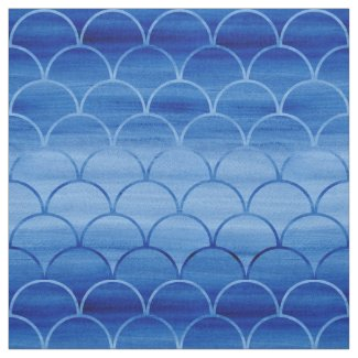 Dark to Light Blue Watercolor Scale Pattern Fabric