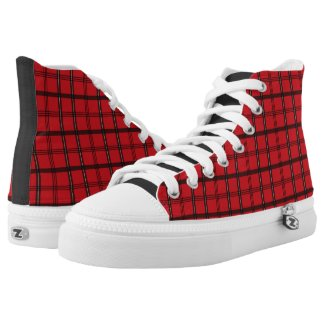 Red and Black Tartan Plaid Printed Shoes