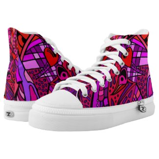 Red Stained Glass Effect Graffiti Printed Shoes