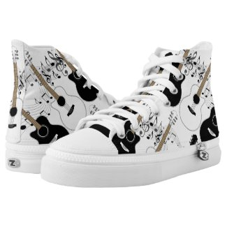 Black and White Guitars and Music High-Top Sneakers