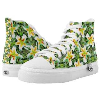 Watercolor White Lilies Green Leaf Aloha Botanical Printed Shoes