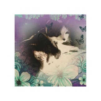 snowshoe hiding in the flowers kitty wood print
