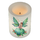 Little Christmas Fairy on Ornament Fantasy Art Flameless Candle