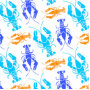 Funky Colorful Lobster or Crawfish Beach House Throw Pillow