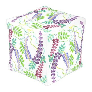 Hand-Painted Watercolor Japanese Wisteria Flowers Outdoor Pouf