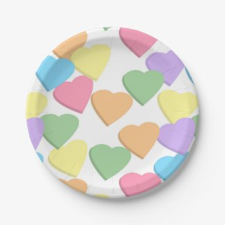 Pastel candy hearts birthday party shower plates
