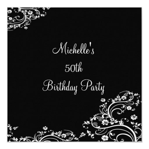 Elegant Black & White Floral 50th Birthday Party 5.25x5.25 Square Paper Invitatio...
