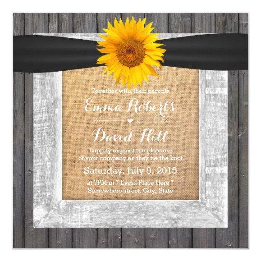 Rustic Barn Wood Framed Sunflower Wedding 5.25x5.25 Square Paper Invitation Card