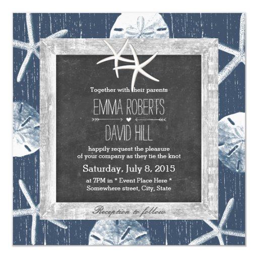Rustic Navy Seashells Wood Framed Starfish Wedding 5.25x5.25 Square Paper Invitation ...