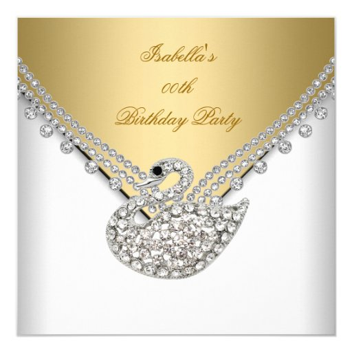 Gold White Swan Elegant Birthday Party 5.25x5.25 Square Paper Invitation Card