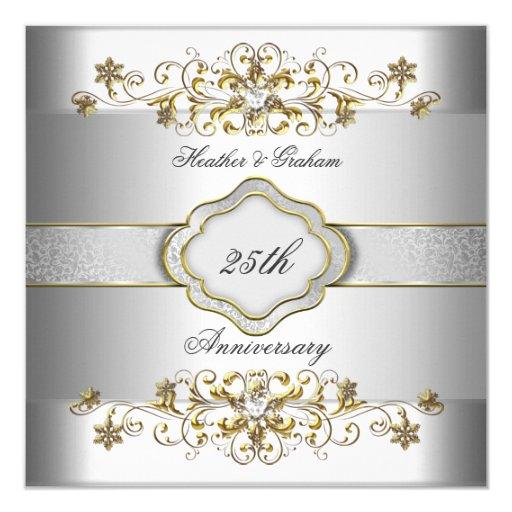 Elegant 25th Anniversary Silver White Gold Templat 5.25x5.25 Square Paper Invitation ...