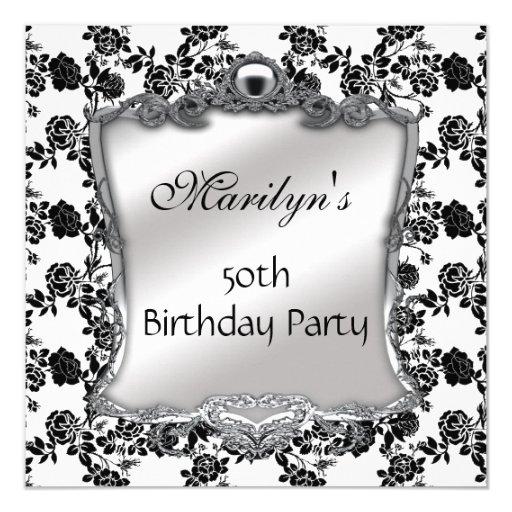 """Invite Elegant 50th Birthday Silver Black White Fl 5.25"""" Square Invitation Card"""