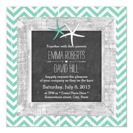 Rustic Teal Chevron Wood Framed Starfish Wedding 5.25x5.25 Square Paper Invitation Ca...
