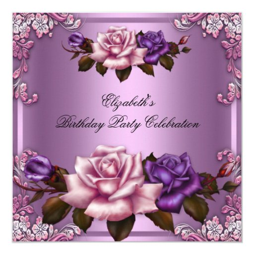 Pink Purple Roses Elegant Birthday Party 5.25x5.25 Square Paper Invitation Card