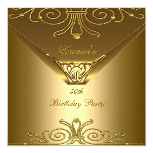 50th Birthday Party Elegant Gold Art Deco 5.25x5.25 Square Paper Invitation Card