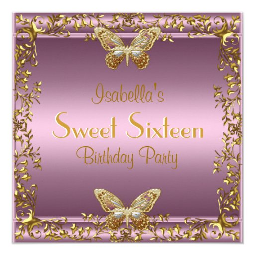 Elegant Sweet Sixteen Birthday Pink Gold Butterfly 5.25x5.25 Square Paper Invitation ...