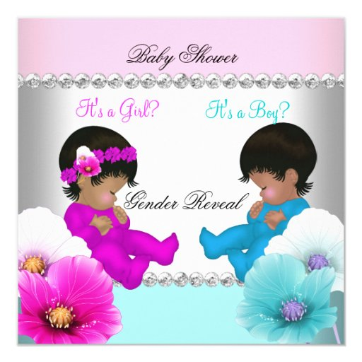 Gender Reveal Baby Shower Pink Teal Blue Flowers 5.25x5.25 Square Paper Invitation Ca...