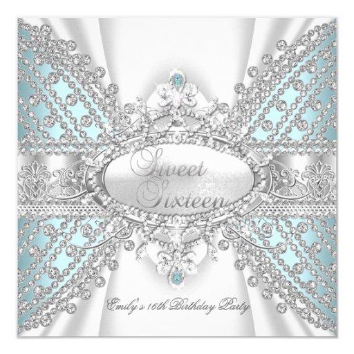 """Elegant Diamond Teal Sweet 16 Sixteen Invitation 5.25"""" Square Invitation Card"""