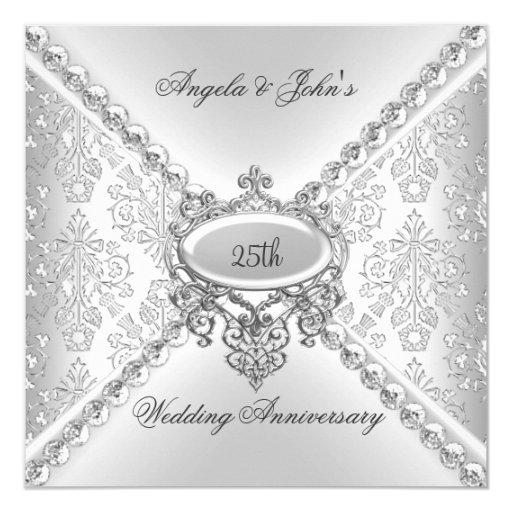 Elegant Silver 25th Wedding Anniversary Damask 5.25x5.25 Square Paper Invitation Card (front side)