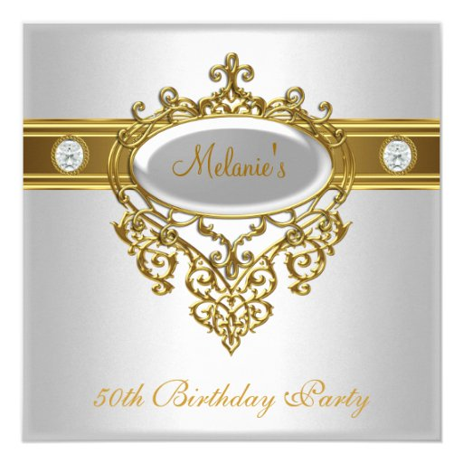 50th Birthday Elegant Lace White Gold Diamond 3 5.25x5.25 Square Paper Invitation Car...