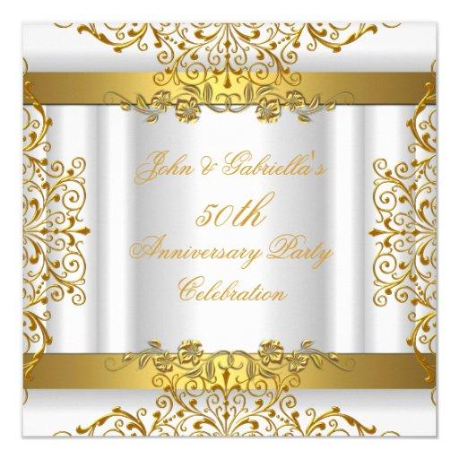 White Gold Elegant Gold 50th Wedding Anniversary 5.25x5.25 Square Paper Invitation Ca...