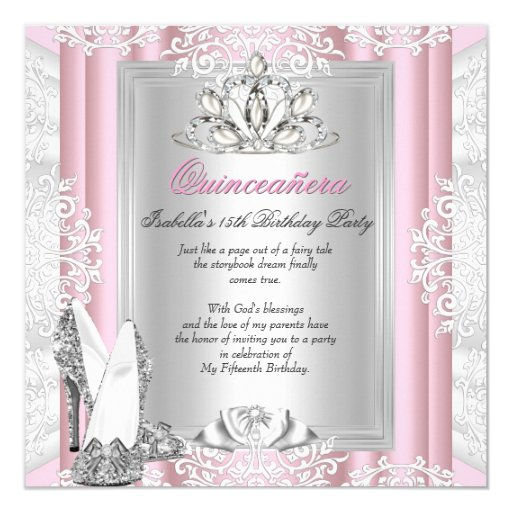 Quinceanera 15th Birthday Party Light Pink Shoes 5.25x5.25 Square Paper Invitation Ca...