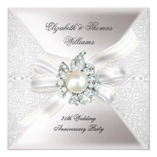 25th Wedding Anniversary Party Lace Pearl White 5.25x5.25 Square Paper Invitation Car...