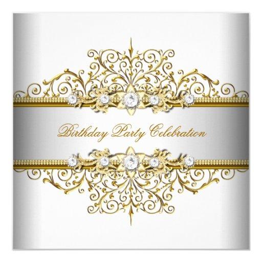 White Gold Silver Cream Elegant Party 5.25x5.25 Square Paper Invitation Card