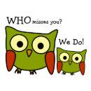 Retro 1960 S Owl Miss You Postcard Zazzle Com