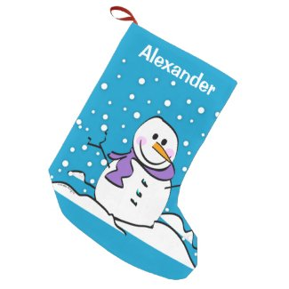 Holiday Snowman Small Christmas Stocking