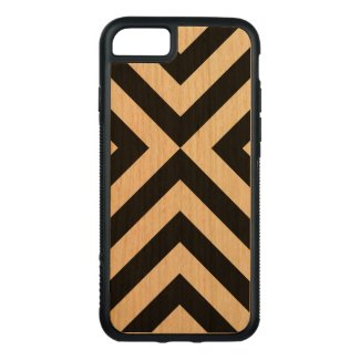 Black Chevrons on Cherry Wood Carved iPhone 7 Case