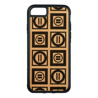 Black Geometric Equal Sign Pattern on Cherry Wood Carved iPhone 7 Case