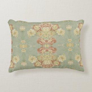 Antique Green Print Decorative Pillow