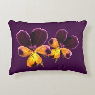 Floral Johnny Jump Up Purple Flower Accent Pillow