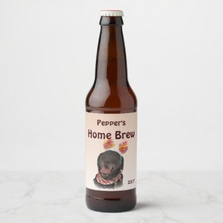 Black Labrador Retriever Dog Beer Label