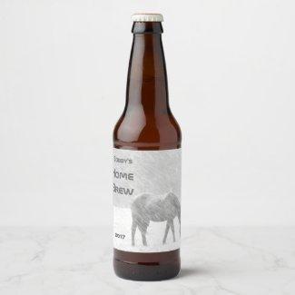 Horse in Winter Snow Storm Beer Label