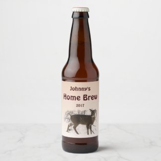 Brown Deer in Snow Animal Beer Label