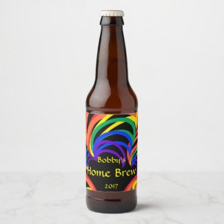 Red Yellow Blue Orange Green Rainbow Beer Label