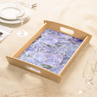 Blue Hydrangea with white border Serving Tray Nat.