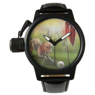 Dog golf image on a leather watch