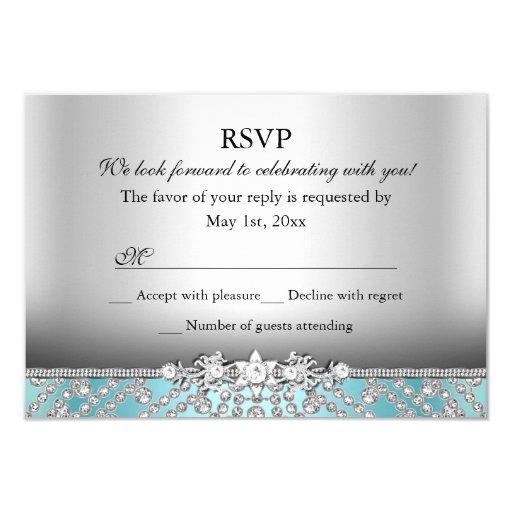 Elegant Diamond Blue RSVP 3.5x5 Paper Invitation Card