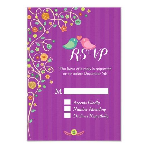 Stylish Cute Purple Swirl Floral Wedding RSVP 3.5x5 Paper Invitation Card