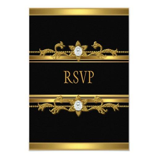 RSVP Elegant Black Gold Diamond Jewel Birthday 3.5x5 Paper Invitation Card
