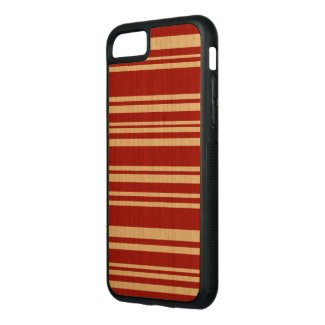 Mixed Red Stripes on Natural Wood Carved iPhone 7 Case