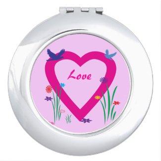 Spring Heart Valentine Compact Mirror